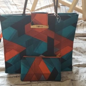 African print tote bag with small purse